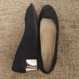 Peep toe dressy wedge w/silver detail, size 8.5